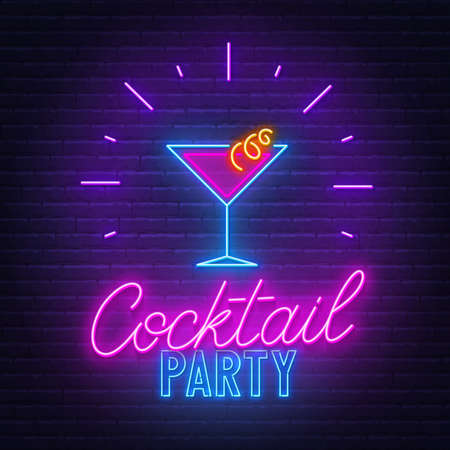 Cocktail Party neon sign on brick wall background.  イラスト・ベクター素材