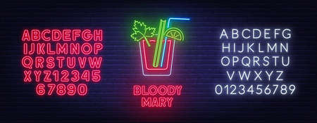 Cocktail Bloody Mary neon sign on brick wall background.  イラスト・ベクター素材