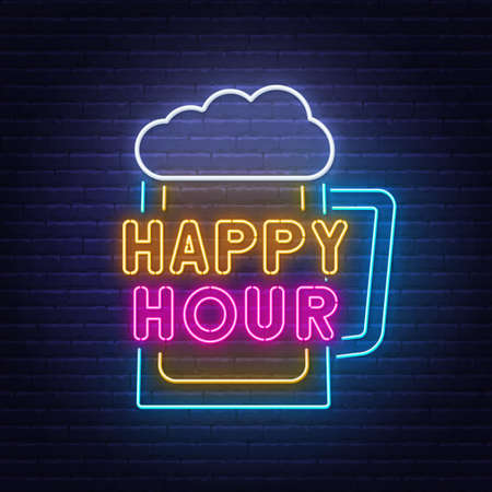 Happy Hour neon sign on brick wall background.  イラスト・ベクター素材