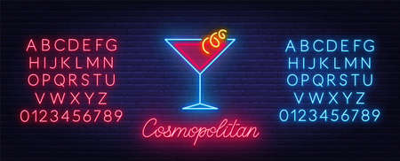 Cocktail Cosmopolitan neon sign on brick wall background.
