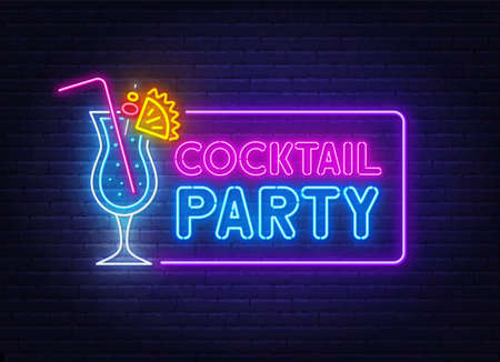 Cocktail Party neon sign on brick wall background .