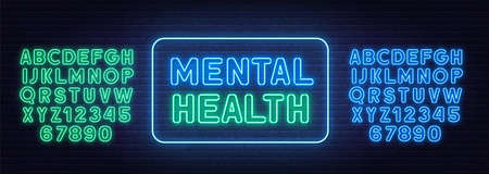 Mental health neon sign on brick wall background.