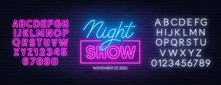 Night show neon sign on brick wall background.  イラスト・ベクター素材