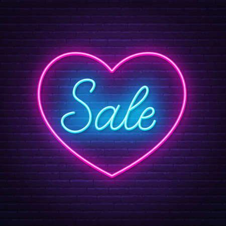 Neon Sign Sale in a heart shape frame.
