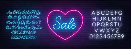 Valentine day sale neon design. Sign Sale in a heart shape frame.