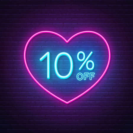 10 percent off neon sign in a heart shape frame. Valentine day discount lighting design.