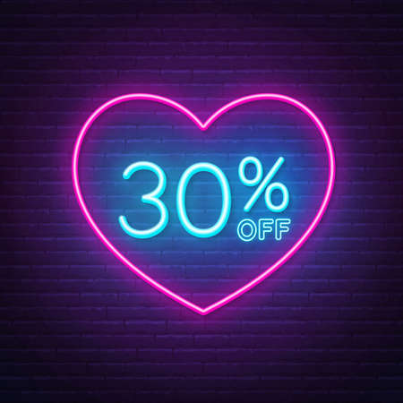 30 percent off neon sign in a heart shape frame. Valentine day discount lighting design.