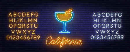 Cocktail California neon sign on brick wall background.  イラスト・ベクター素材