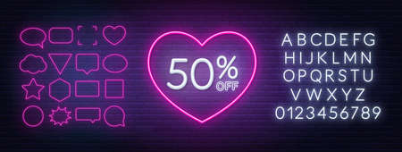 50 percent off neon sign in a heart shape frame. Valentine day discount lighting design.