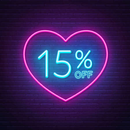 15 percent off neon sign in a heart shape frame. Valentine day discount lighting design.  イラスト・ベクター素材