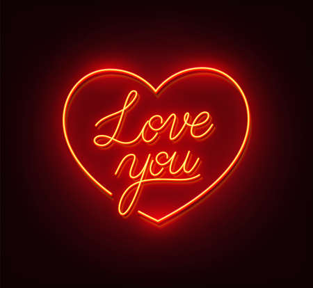 Love you neon sign on a black background.