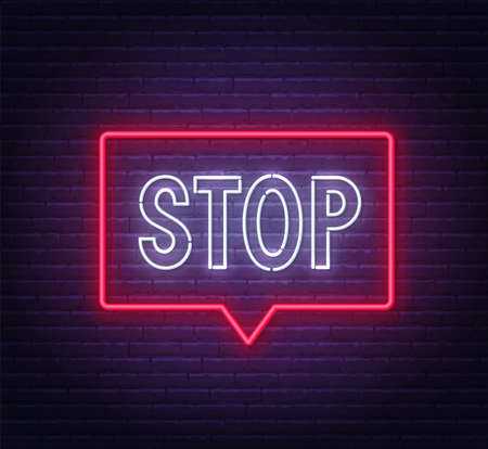 Neon stop sign in a frame on brick wall  イラスト・ベクター素材