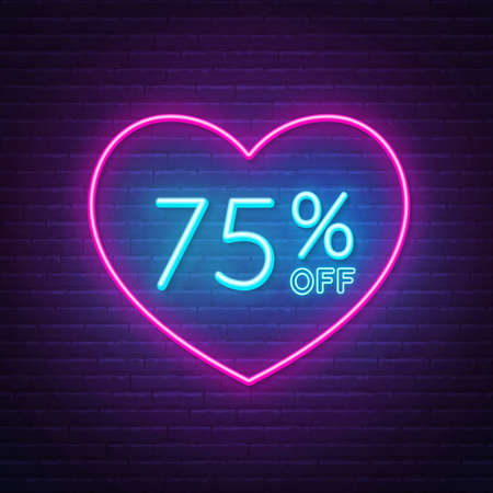 75 percent off neon sign in a heart shape frame.  イラスト・ベクター素材