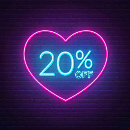 20 percent off neon sign in a heart shape frame. Valentine day discount lighting design.