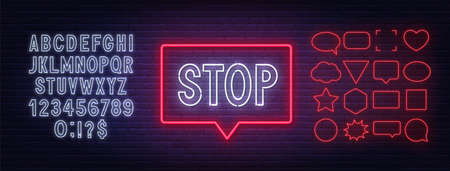 Neon stop sign in a frame on brick wall background. White neon alphabets and red speech bubble frame.