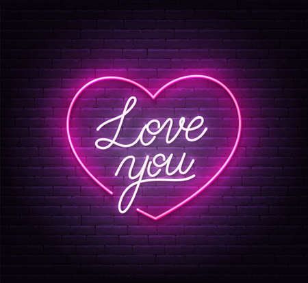 Love you neon sign on brick wall background. Ilustração