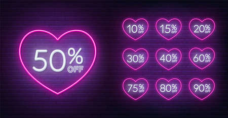 Valentine day discount neon design. 10, 15, 20, 30,40,50, 60, 75, 80, 90 percent off . Neon signs in a heart shape frame.  イラスト・ベクター素材