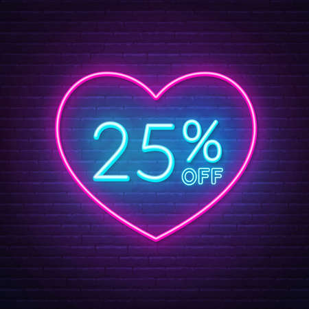 25 percent off neon sign in a heart shape frame. Valentine day discount lighting design.  イラスト・ベクター素材