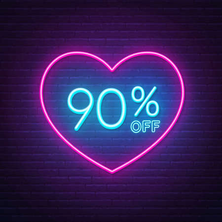 90 percent off neon sign in a heart shape frame. Valentine day discount lighting design.