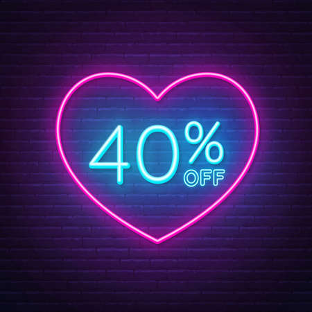 40 percent off neon sign in a heart shape frame. Valentine day discount lighting design.