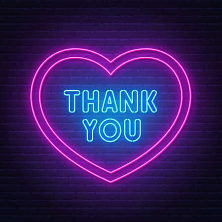 Thank you neon sign in a heart-shaped frame.