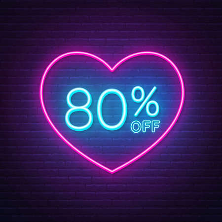 80 percent off neon sign in a heart shape frame. Valentine day discount lighting design.