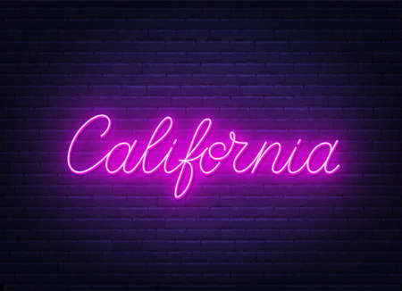 Neon sign California on brick wall background.
