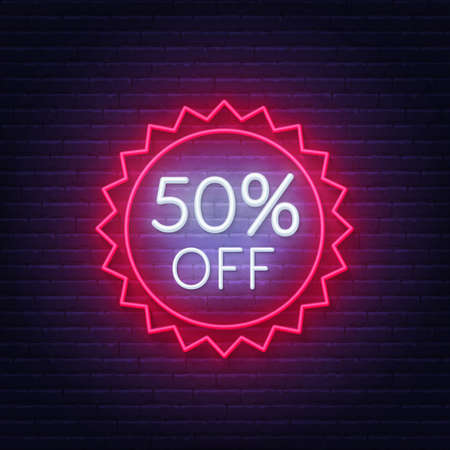 50 percent off neon badge. Discount lighting sign on a dark background.  イラスト・ベクター素材