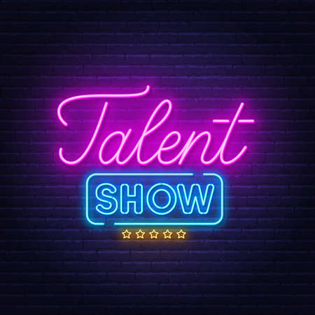 Talent show neon sign on brick wall background.  イラスト・ベクター素材