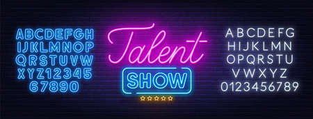 Talent show neon sign on brick wall background. 矢量图像