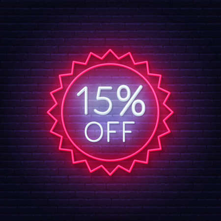 15 percent off neon badge. Discount lighting sign on a dark background.