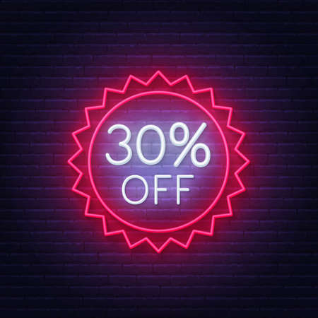 30 percent off neon badge. Discount lighting sign on a dark background.