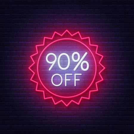 90 percent off neon badge. Discount lighting sign on a dark background. 矢量图像