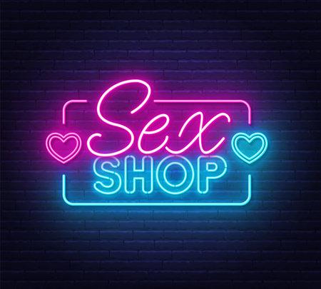 Sex Shop neon sign on brick wall background. 矢量图像