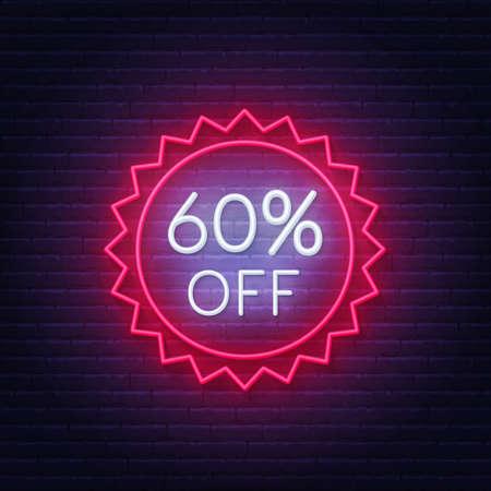 60 percent off neon badge. Discount lighting sign on a dark background. 矢量图像