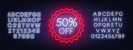 50 percent off neon badge. Discount lighting sign on a dark background. 矢量图像
