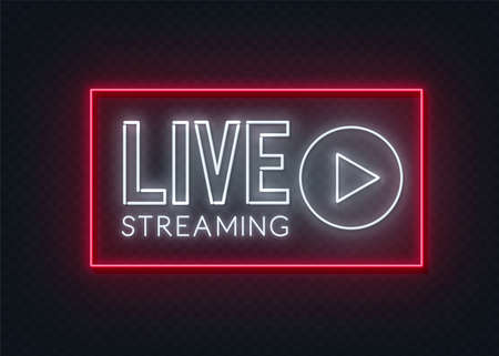 Live streaming neon sign on a transparent background.
