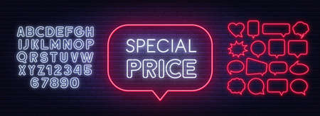 Special price neon badge. Discount lighting sign on a dark background. 矢量图像