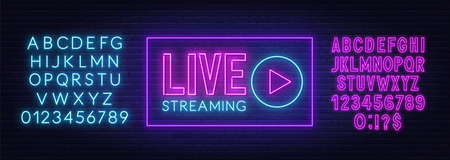Live streaming neon sign on a brick wall background. 矢量图像