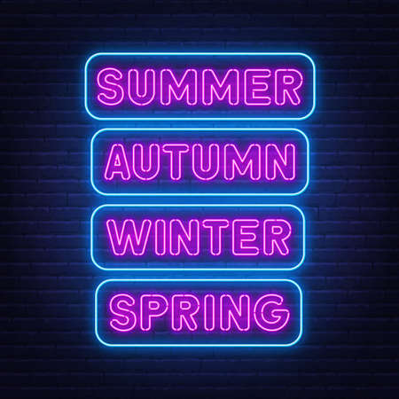 Summer, spring, autumn and winter neon signs on brick wall background.