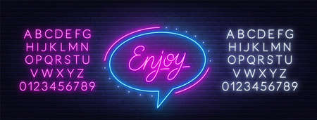 Enjoy neon glowing lettering on brick wall background.