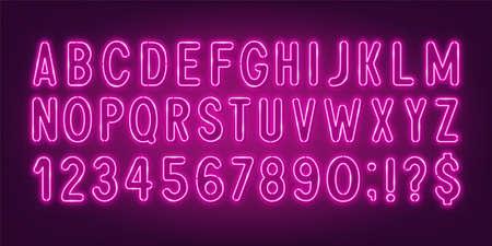 Pink neon light font on a dark background. 矢量图像