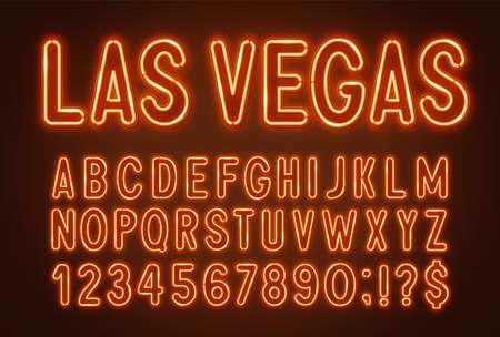 Orange neon light font on a dark background.