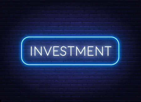 Investment neon sign in a frame on brick wall background.