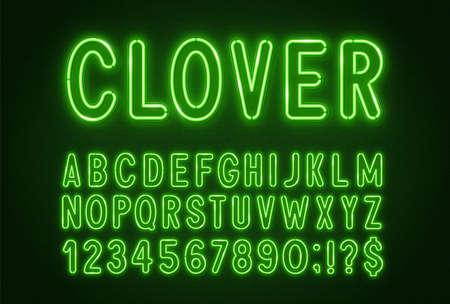 Green neon light font on a dark background.