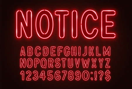 Red neon light font on a dark background.
