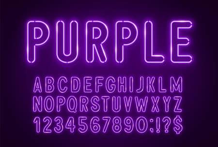 Purple neon light font on a dark background. 矢量图像