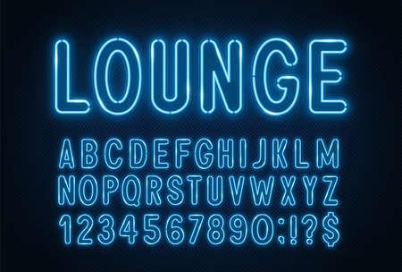 Blue neon light font on a dark background. 矢量图像