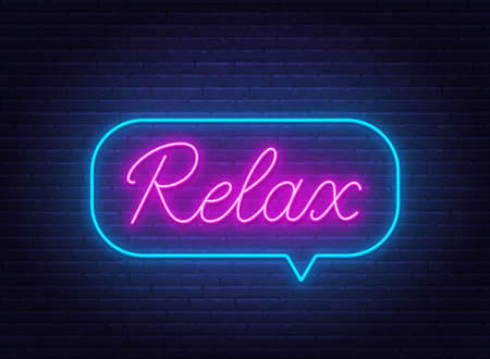 Relax neon sign in the speech bubble on brick wall background. 矢量图像
