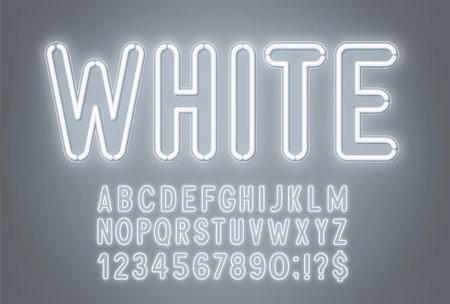 White neon light font on a gray background. 矢量图像